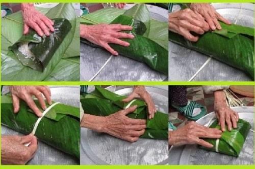 các bước quấn lá khi gói bánh chưng không dùng khuôn