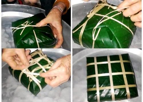 cách gói bánh chưng vuông đẹp không cần khuôn